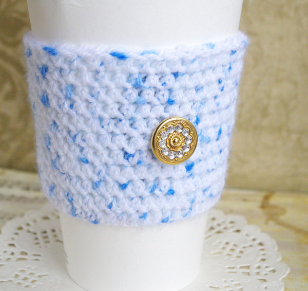 crochet cozy cup wool sleeve for coffee time tea lover thermos starbucks