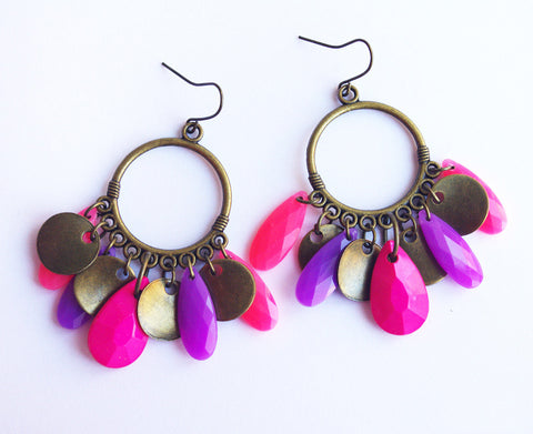 Oriental gypsy purple fuchsia hoop earrings