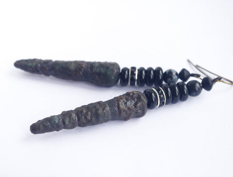 gothic black spike earring long ceramic daguer dark ciber goth jewelry