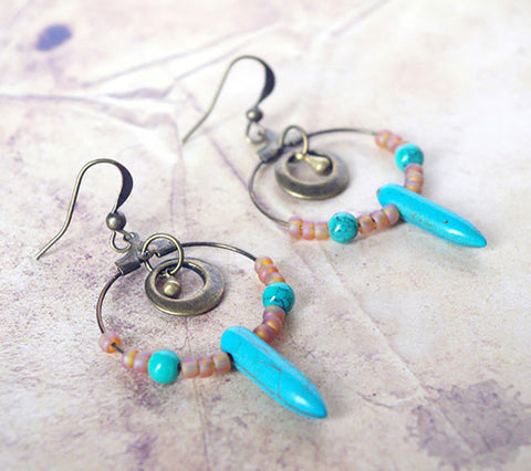Turquoise brown daguer hoop earrings