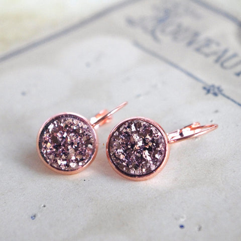 Druzy earrings sleeper rose gold brass Trendy girl jewelry - 4 colors