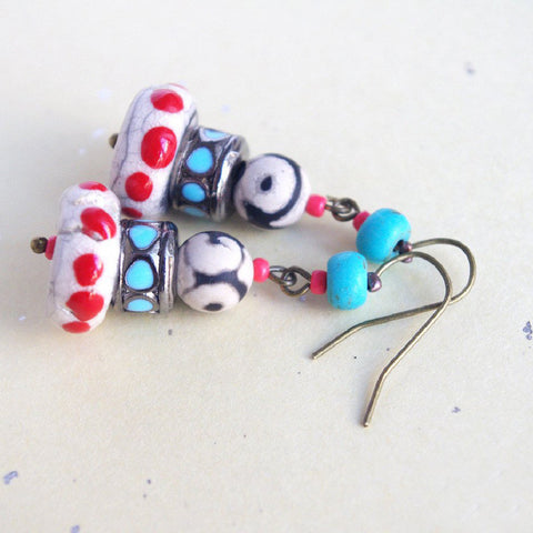 Colorful polka dot dzi earrings gypsy soul hippie chic red turquoise