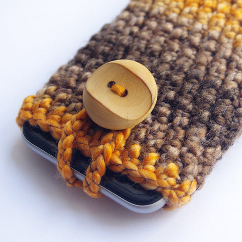 Brown Iphone 6 phone sock cozy wool pouch rustic cover case