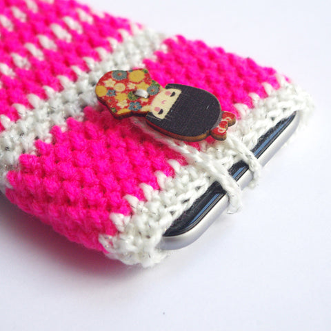 Pink White Iphone 6 phone sock cozy stripe pouch kawaii cover case