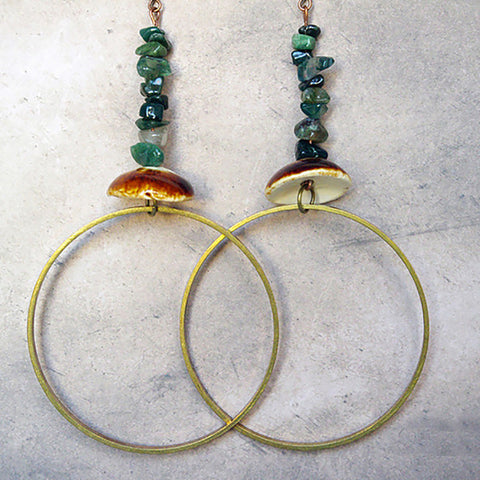 large gold brass hoop ceramic green agate chips gemstone