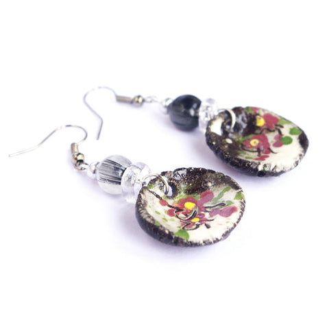 Floral disc charm tourmaline earrings Spring jewelry