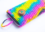 Multicolor Iphone 6 phone sock cozy artisan wool pouch happy cover case