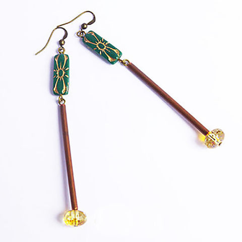 long green bronze tube bead earrings