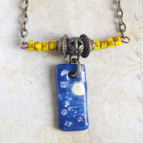 Midnight Blue Moon rectangular ceramic charm necklace hand painted