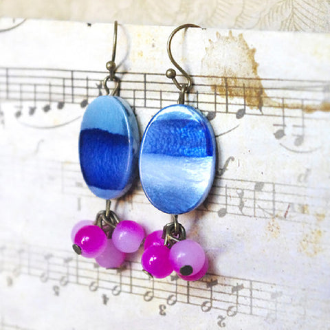 cluster fuchsia earrings oval blue mother of pearl bead jewelry for her