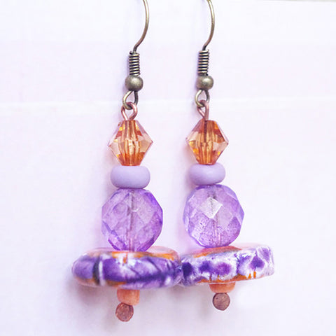Unique Orange purple Earrings Artisan ceramic jewelry Handmade earrings porcelain jewellery