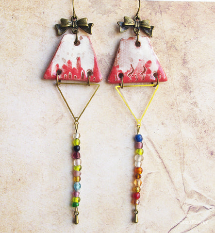 Bow Pink multicolor long ceramic earrings dangle