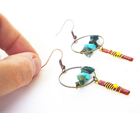 Tiny hoops earrings agate and turquoise gemstone