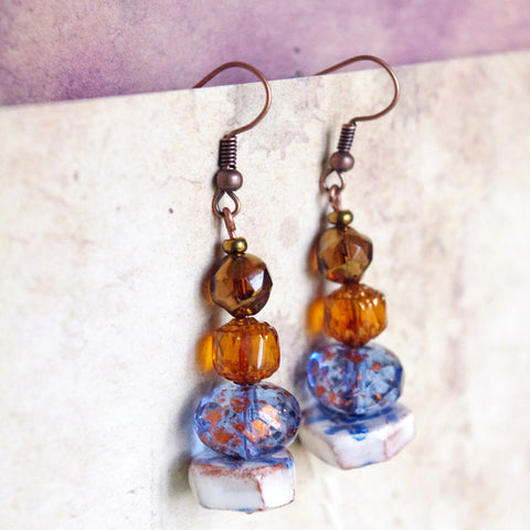 Petite Brown Blue gypsy ceramic earrings