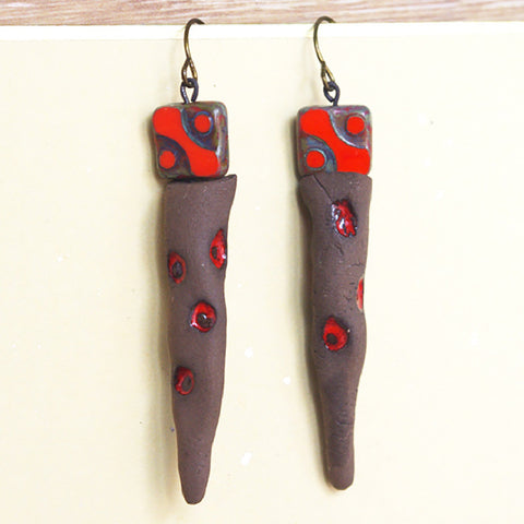 Orange earrings polka dot ceramic spike - women jewellery