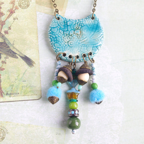 Turquoise long bib necklace Gypsy jewelry