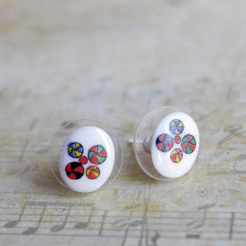 tiny oval stud earrings vintage glass Japan porcelain abstract 10X8mm