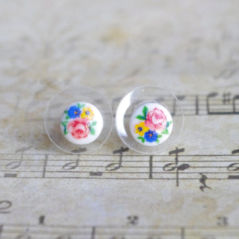 tiny round stud earrings vintage glass Japan porcelain flowers ornament 7mm