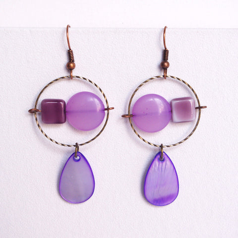 Purple hoops earrings