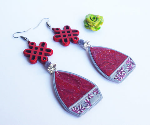 Red infinity bow earrings dangle