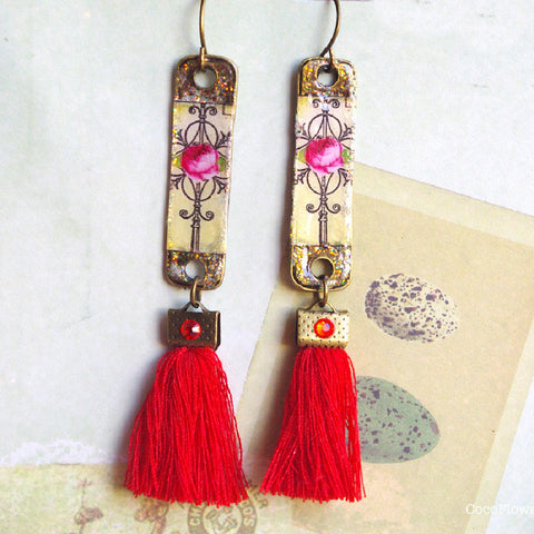 Red fringe Rose bar earrings cocktail garden party romantic jewelry