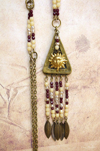 Golden Sun Triangle necklace beaded jewelry for woman beige brown feather