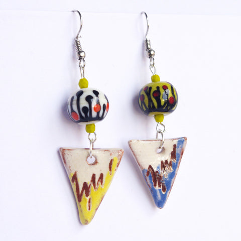 multicolore lampwork triangle ceramic earring dangle gift for woman