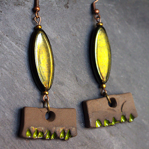 Unusual Green Brown earrings Boho chic jewelry