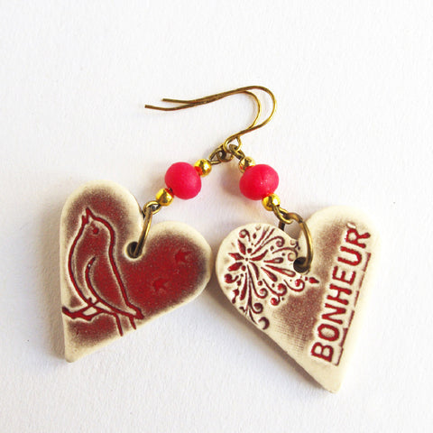"Valentine heart earrings ""bonheur"" French inscription Happiness Bird"