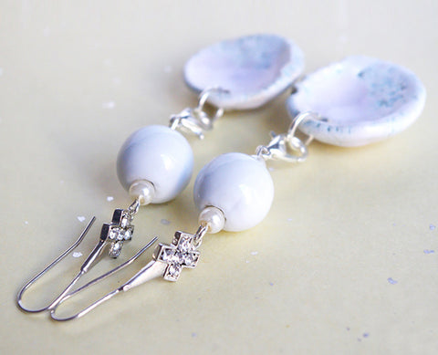 white earrings danglewhite wedding earring dangle bride bridesmaid statement jewellery