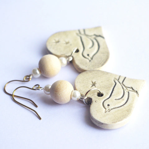 Off White Valentine heart earrings Bird jewelry lover gift