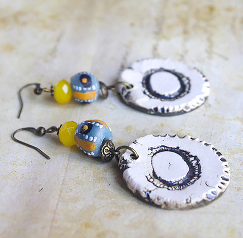 Yellow Gray earrings africa bead and artisan round ceramic pendant