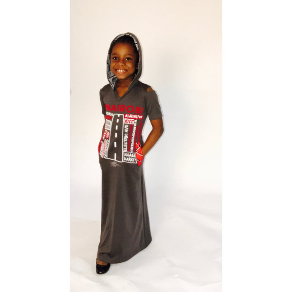 KIDS:  LUV NAIROBI ANKARA GREY HOODED MAXI DRESS
