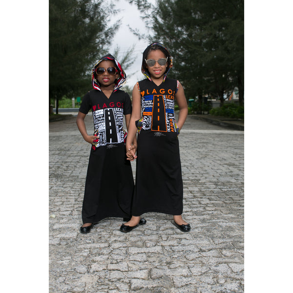 KIDS: LUV LAGOS ANKARA BLACK HOODED MAXI DRESS