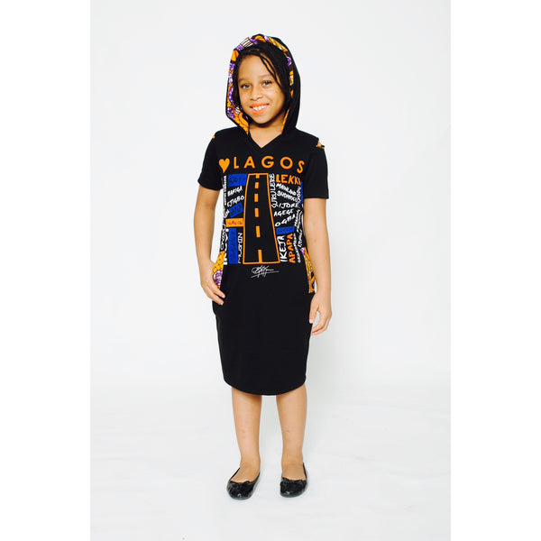 KIDS: LUV LAGOS ANKARA BLACK HOODED MIDI DRESS