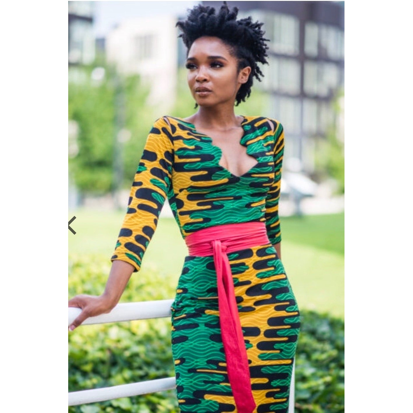 MELODIE ANKARA PRINT 3/4 SLEEVE, SLIT SHOULDER MIDI DRESS
