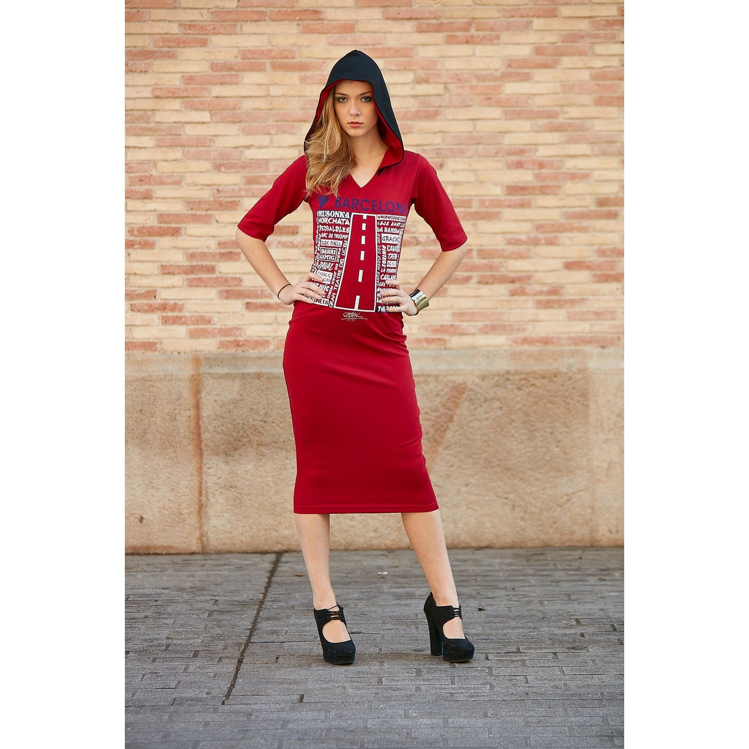 VELVET APPLIQUE LUV BARCELONA HOODED MIDI DRESS