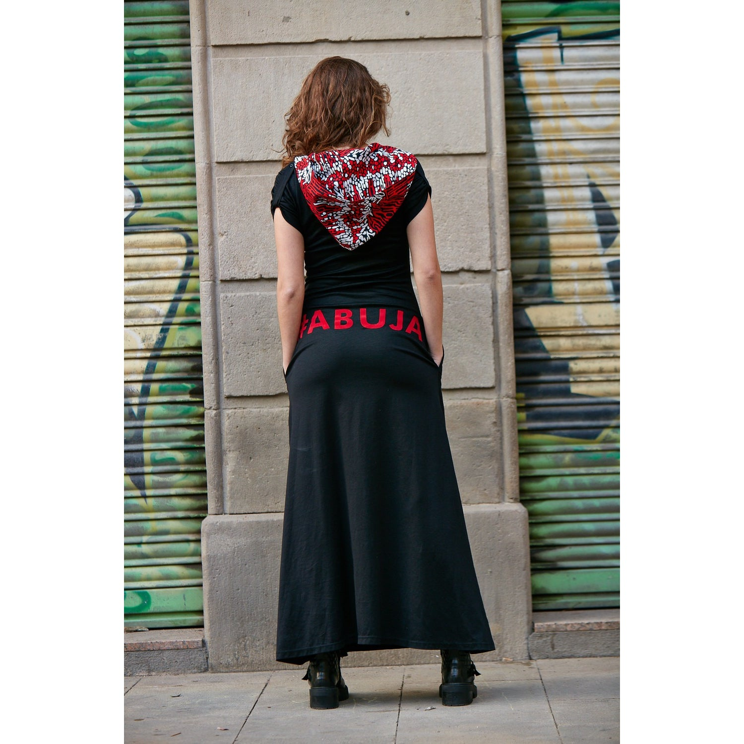 VELVET APPLIQUE SOMETHING DIFFERENT HOODED DRESS ABUJA