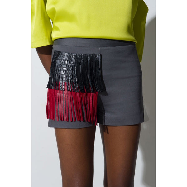 GREY MAROC  LEATHER TRIM SHORTS - DEUX