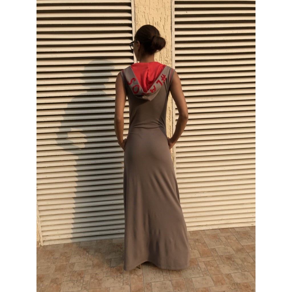 GREY SOMETHING DIFFERENT FROM LAGOS HOODED MAXI DRESS