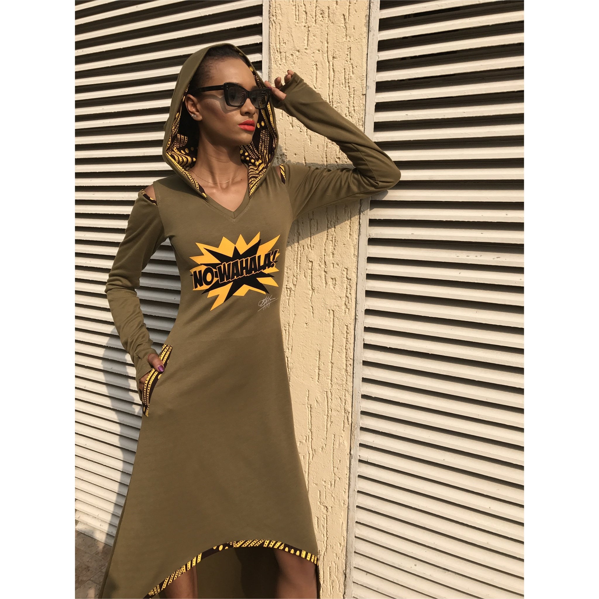 Olive No Wahala Hooded Dress, Hi Low or Maxi Length