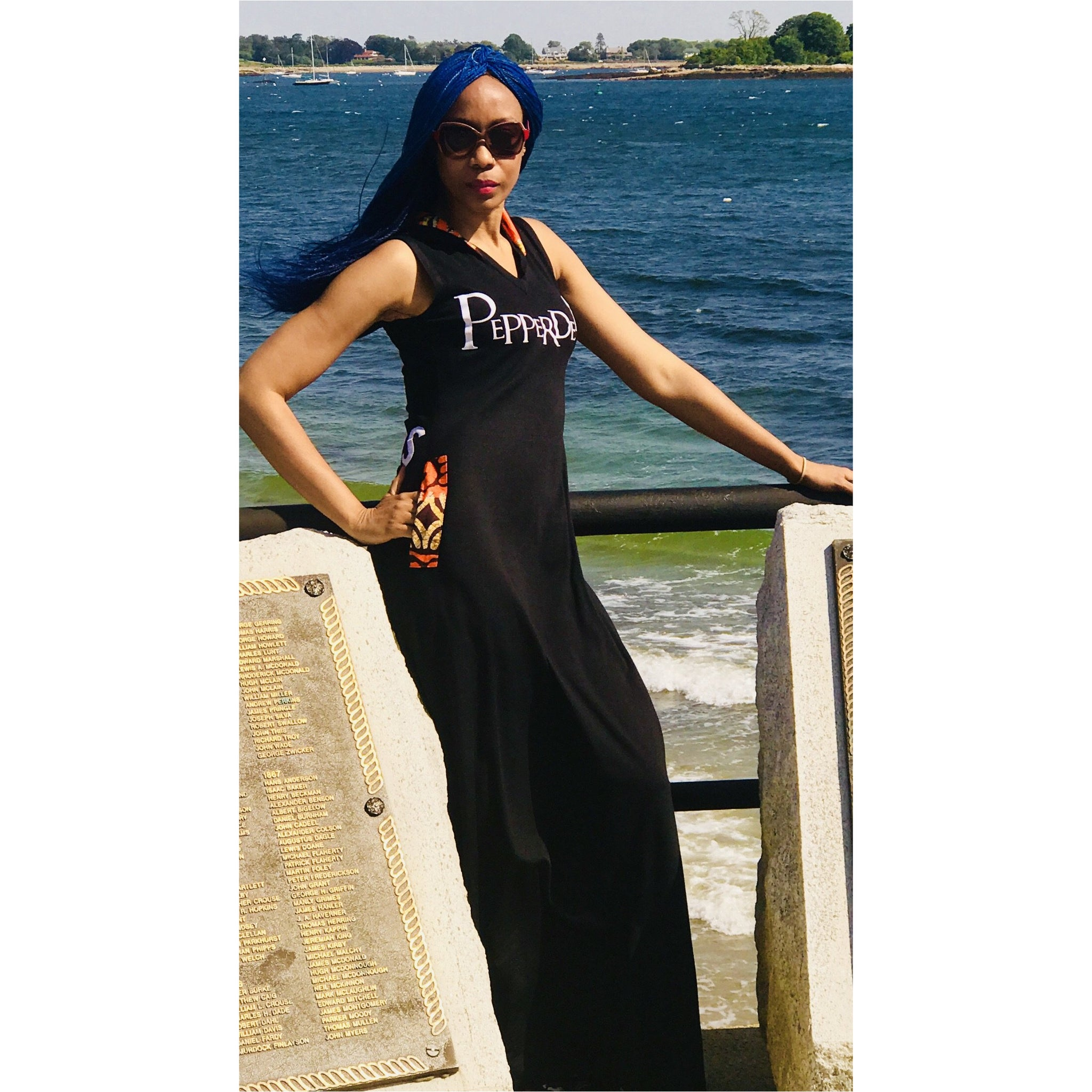 PepperDem Maxi Hooded Dress, #LAGOS Détail at Back