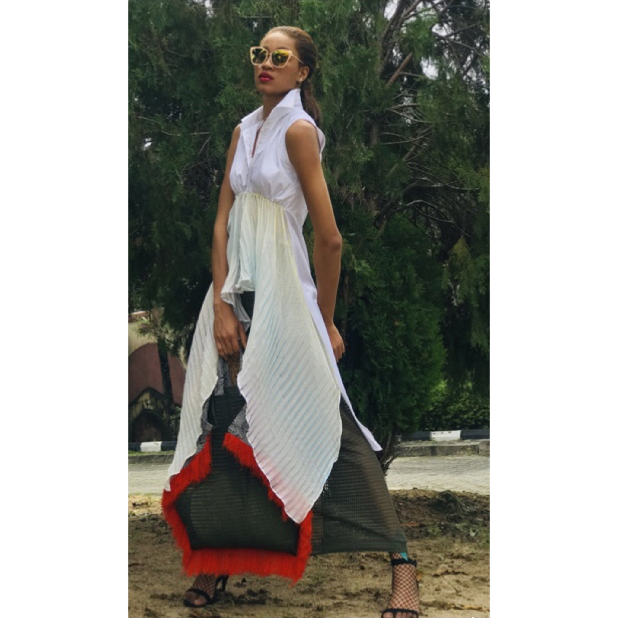 The Graz Maxi Blouse with Pleated Détail in White
