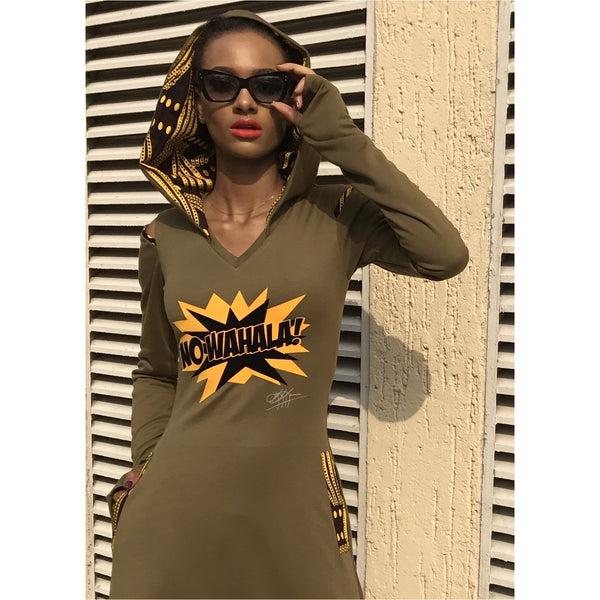 Olive No Wahala Hooded Dress, Hi Low, Midi or Maxi Length