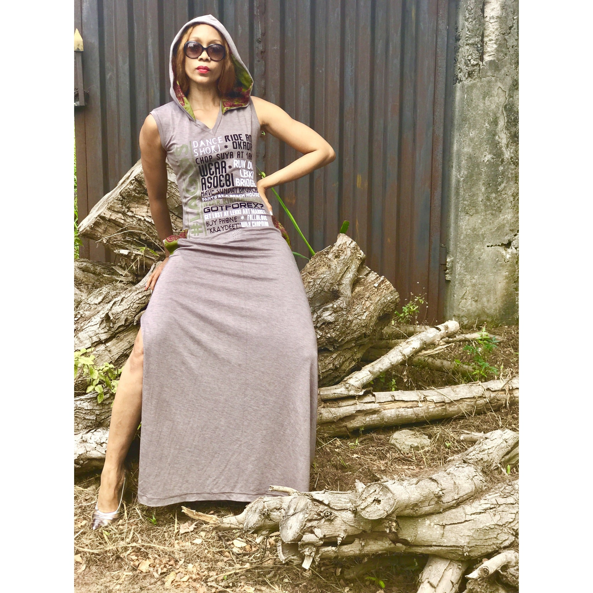 Sleeveless #LAGOS FAV.THINGS Hooded Maxi Dress, SideSlit