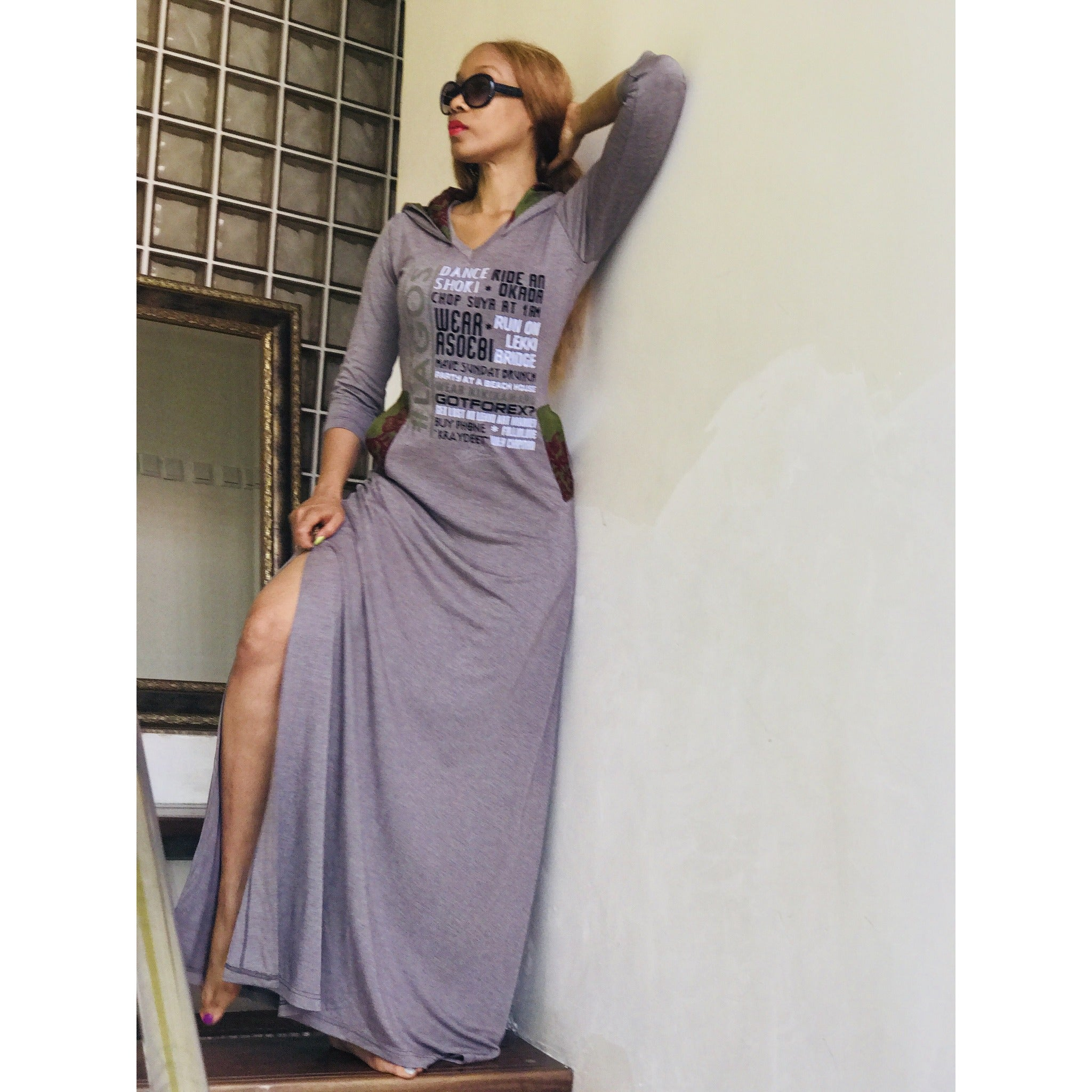 Side Slit #LAGOS FAV THINGS Hooded Maxi Dress, 3/4 Sleeved