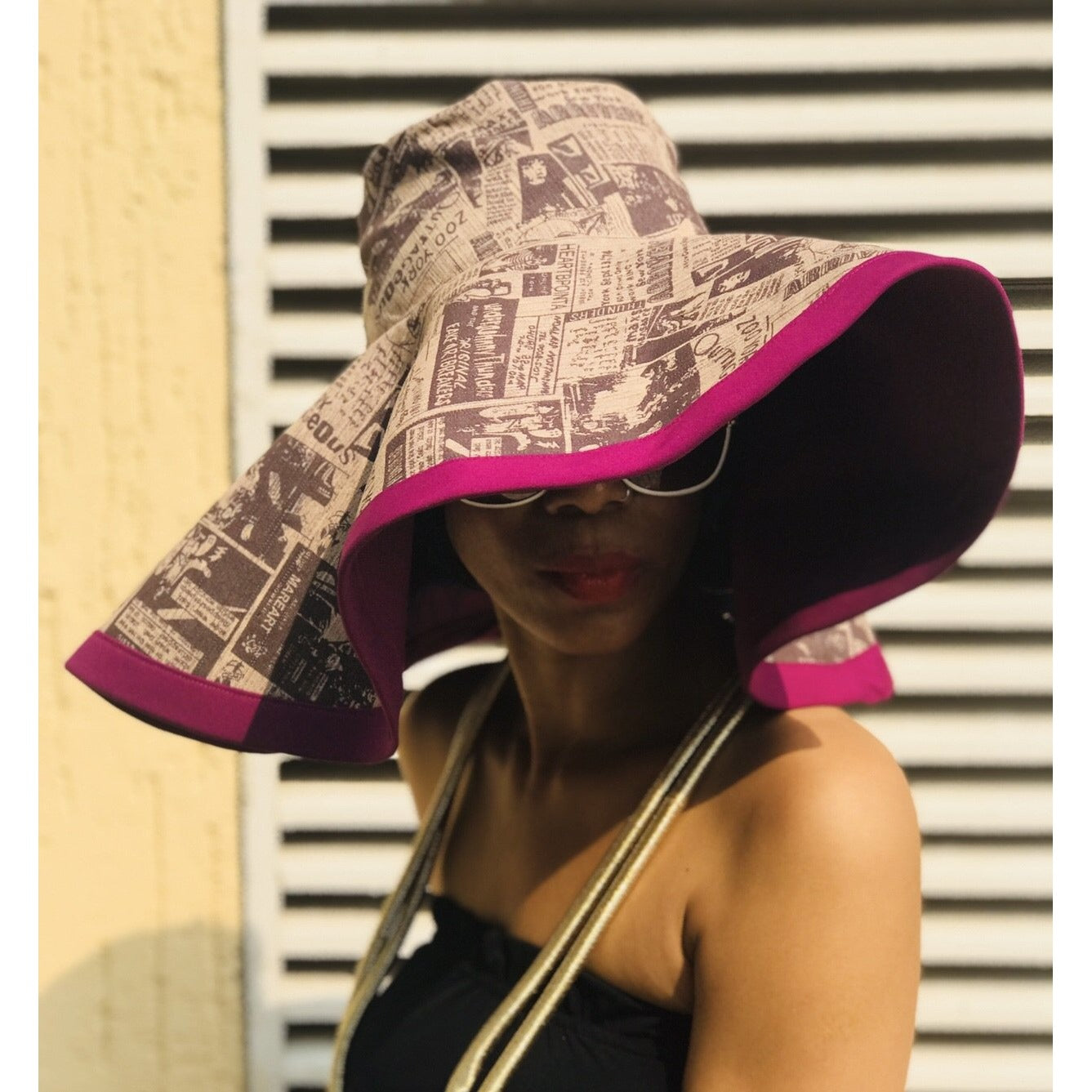 Reversible GoodHeadz Hat in NewsPaper Print/Purple