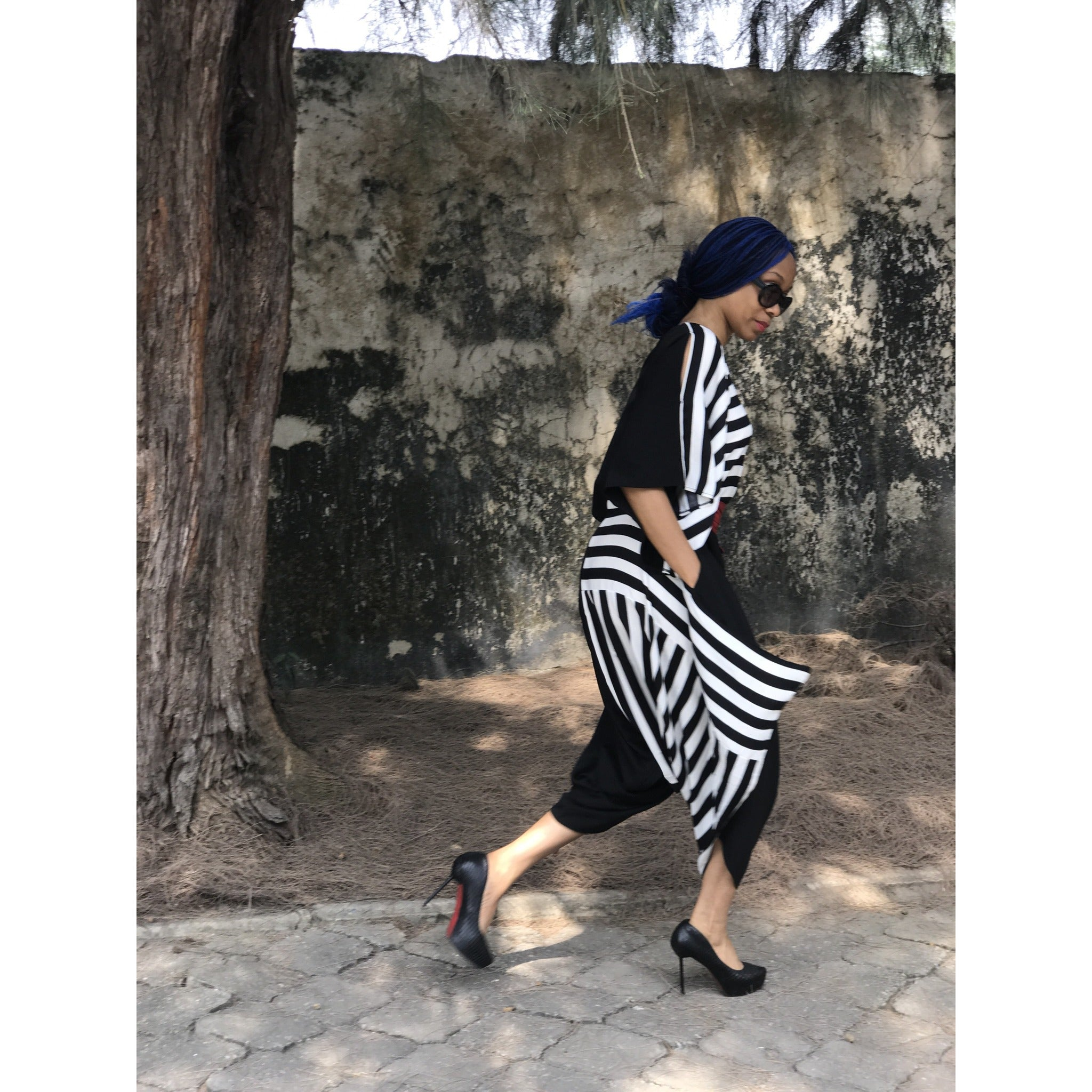Reversible Black Favour Essouira With Black &White Stripe Détail