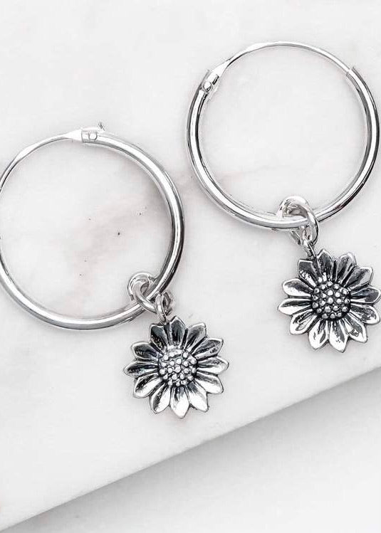 Delicate Sunflower Sleepers ~ Sterling Silver