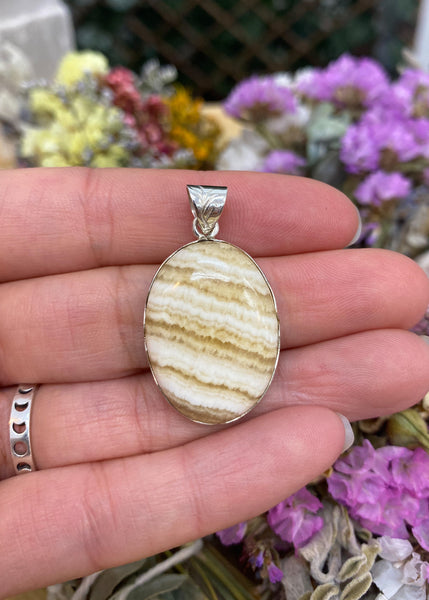 Yellow Lace Agate Pendant